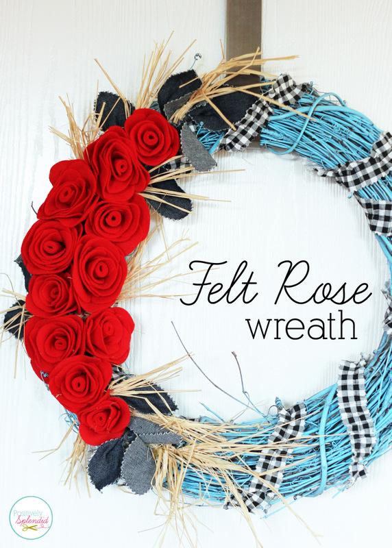 Felt Rose Wreath at Positively Splendid. So beautiful!