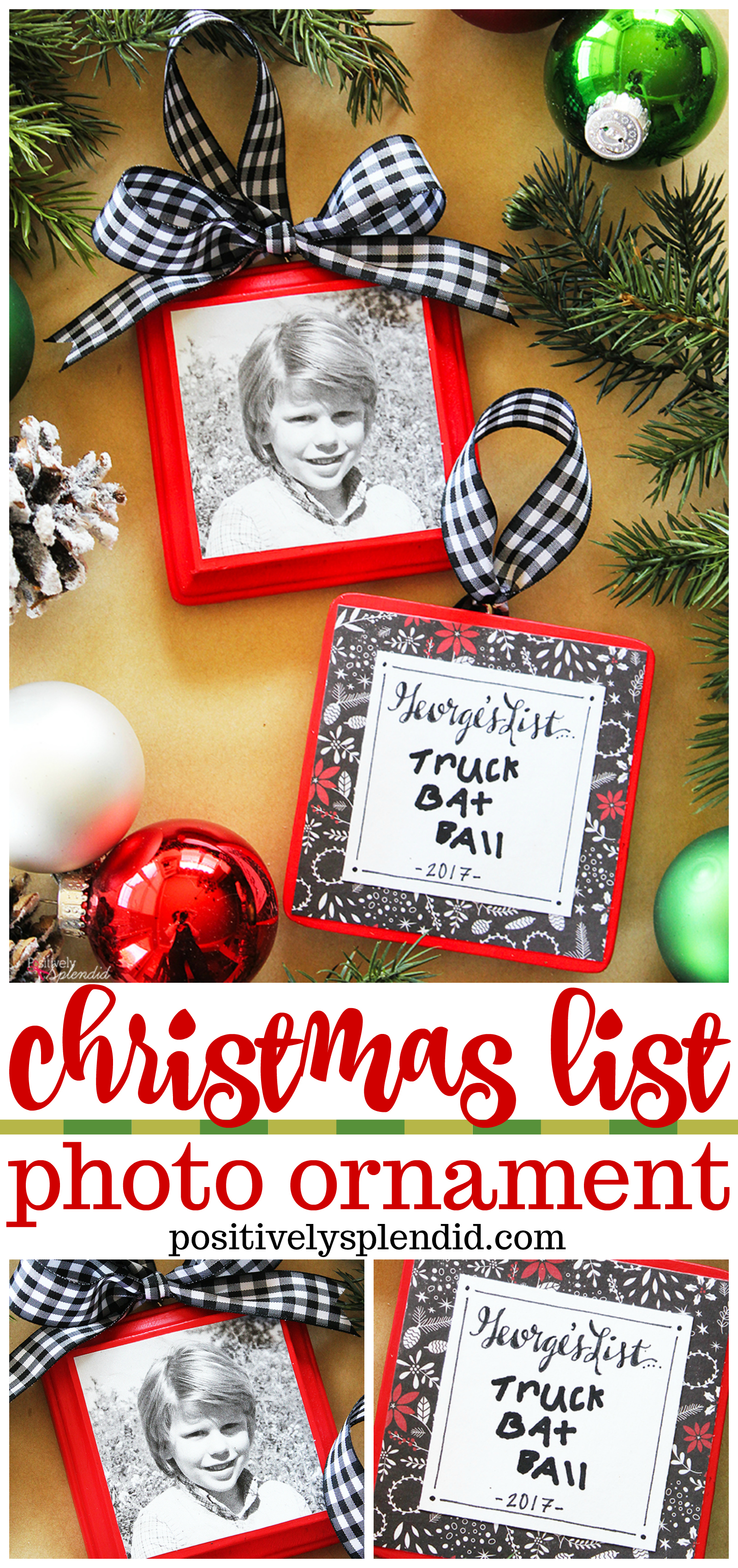 Christmas list photo ornament tutorial diy christmas List of christmas ornaments