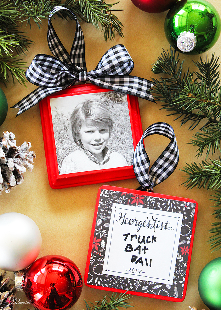 Christmas List Photo Ornaments. A child's photo on the front and their Christmas list on the back. A great keepsake handmade ornament idea!