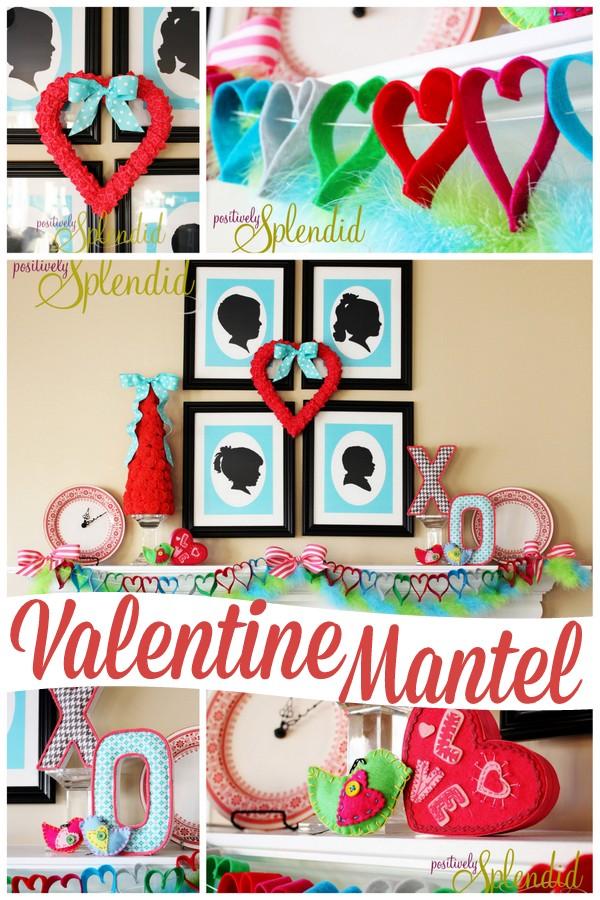 Adorable Valentine's Day mantel decor at PositivelySplendid.com
