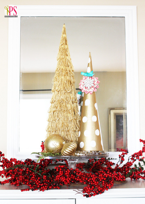 Gold Christmas Tree Topiaries