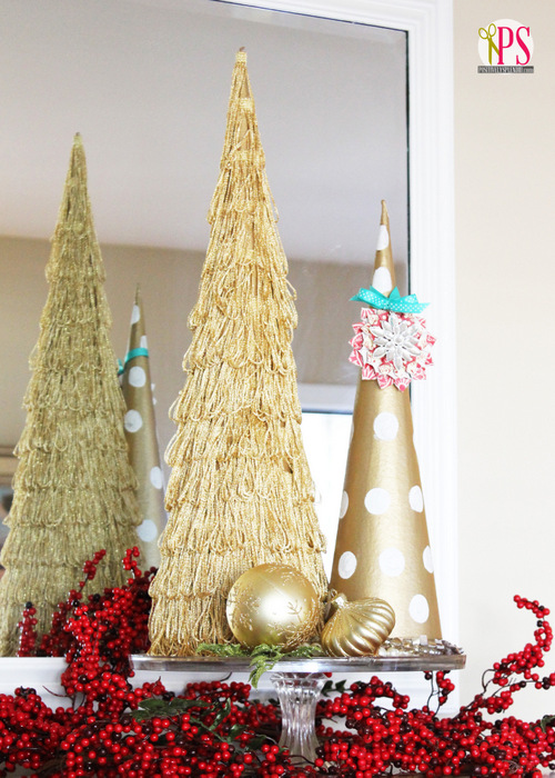 Gold Christmas Tree Topiaries