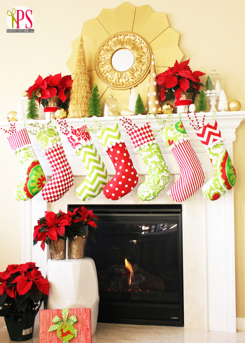 Christmas Mantel Decor Red Gold Lime Watermark 2