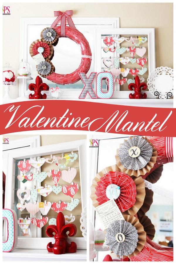 Beautiful Valentine's Day mantel decor at PositivelySplendid.com