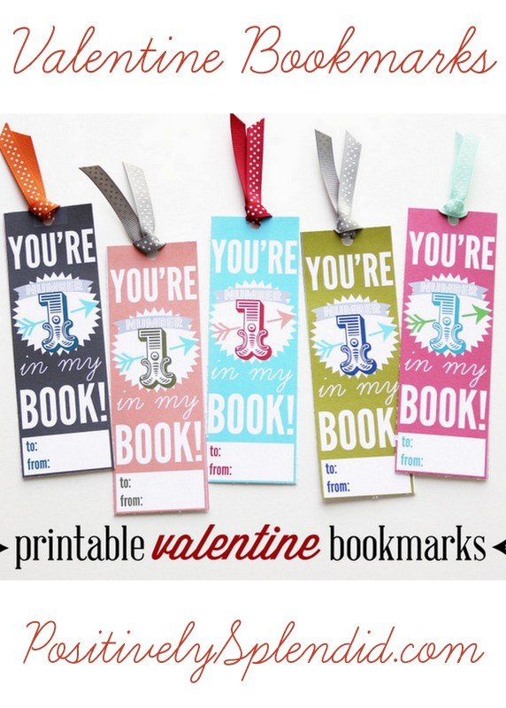 Printable Valentine Bookmarks at PositivelySplendid.com - A great alternative to candy!