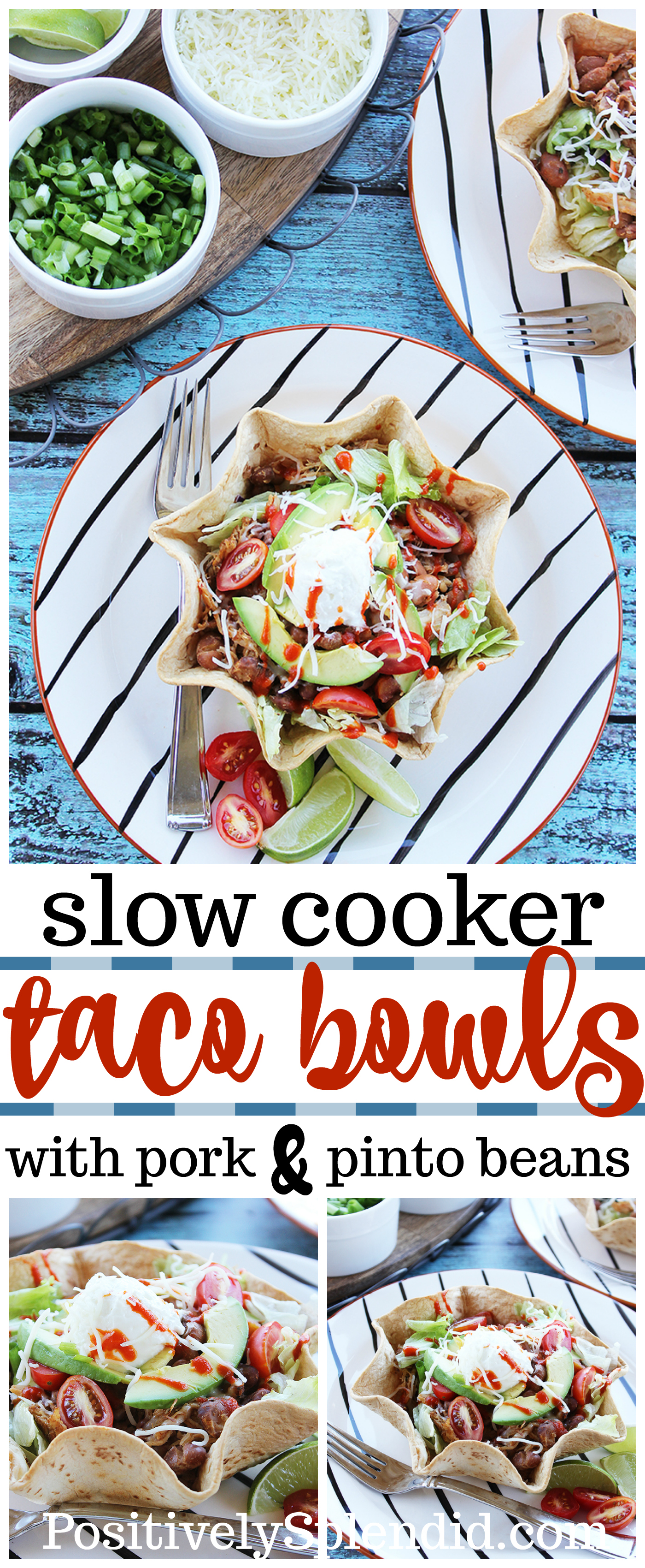 Slow Cooker Pork and Bean Taco Bowls - An easy and delicious Crock Pot dinner idea!