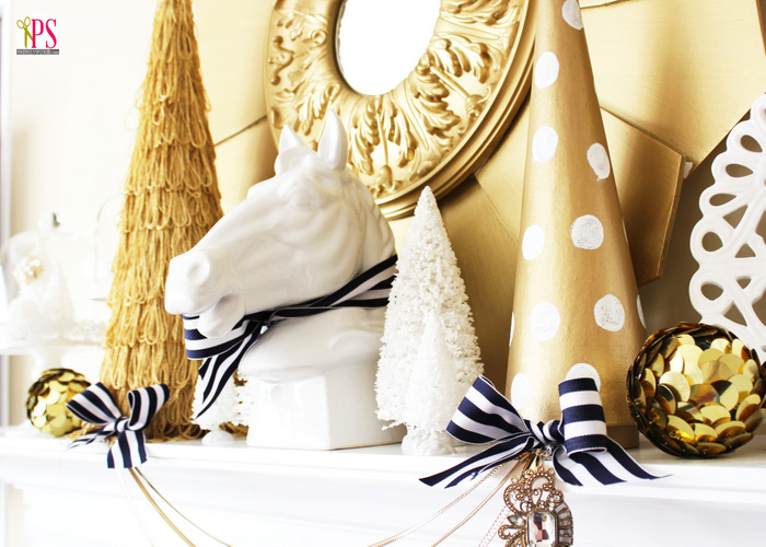save - Navy And Gold Christmas Decorations