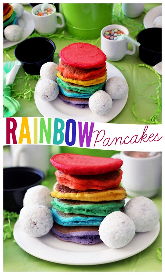 Rainbow pancakes for St. Patrick's Day!