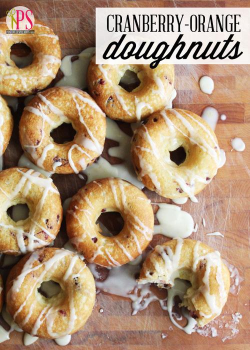 Baked Cranberry-Orange Doughnuts with Orange-Vanilla Glaze :: PositivelySplendid.com