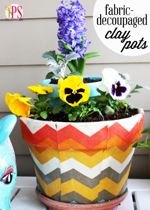 Fabric-Decoupaged Clay Pots :: PositivelySplendid.com