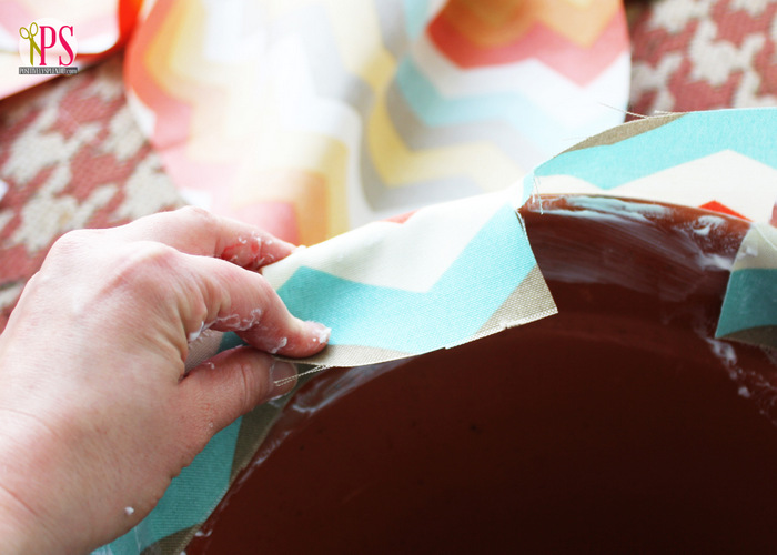Fabric-Decoupaged Clay Pots :: PositivelySplendid.com