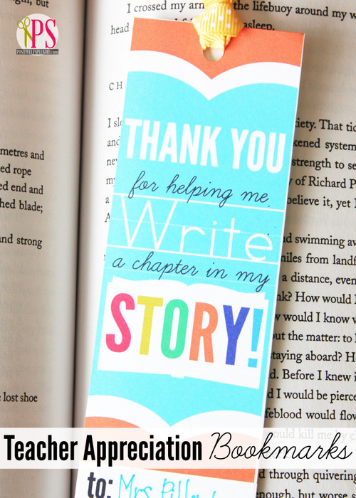 Teacher Appreciation Bookmark by Positively Splendid