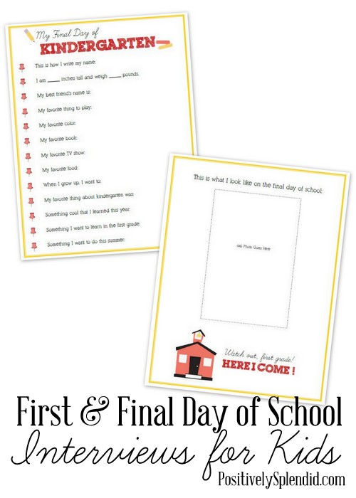 graphic relating to First Day of School Interview Printable titled Initially and Previous Working day of College or university Interviews - Positively