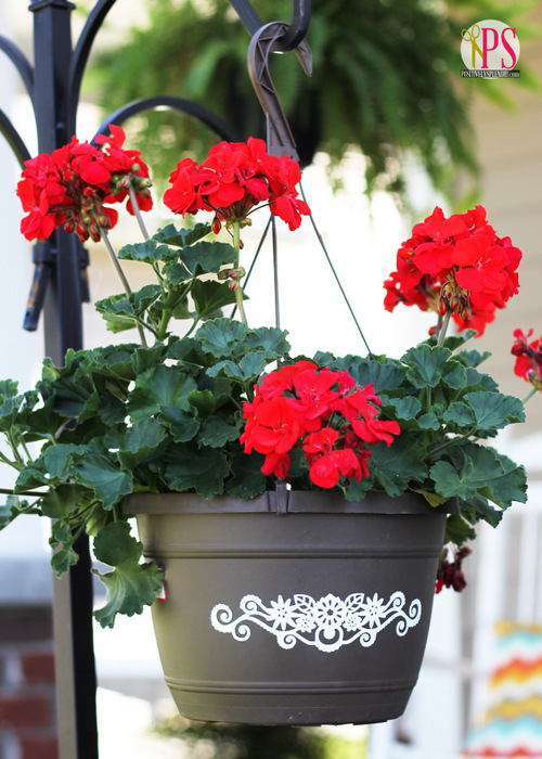 Vinyl-Embellished Hanging Baskets :: PositivelySplendid.com