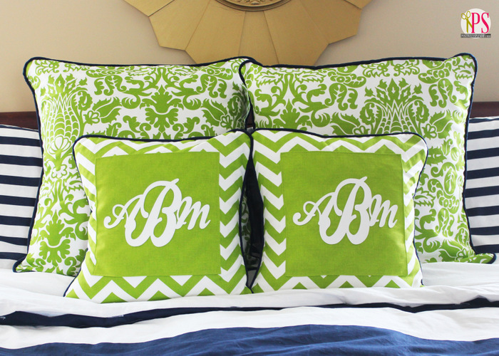 Vinyl Throw Pillows : Monogram Pillow Covers with Marine Vinyl