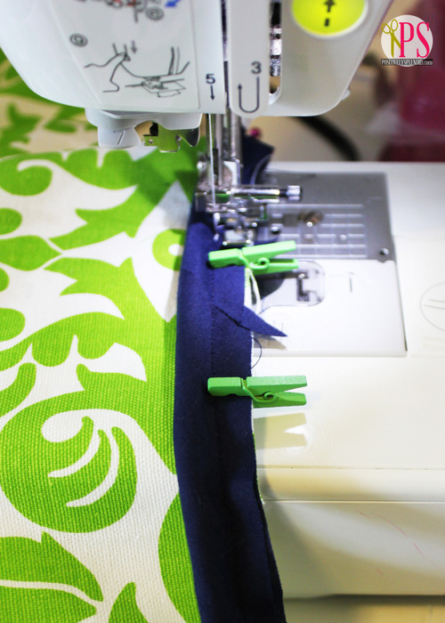 Use mini clothespins when sewing piping