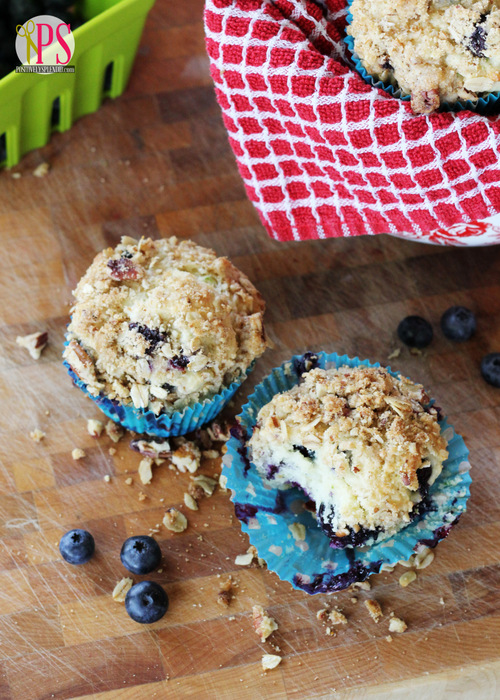 Blueberry Muffins with Oat-Pecan Streusel Topping Recipe