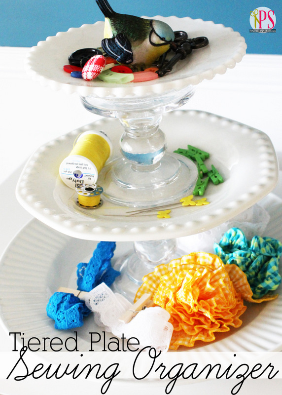 Tiered Vintage Plate Sewing and Craft Organizer at Positively Splendid
