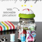 Glass Canister Sewing Organizer with Removable Pincushion