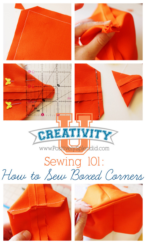 Creativity U at Positively Splendid: How to Sew a Boxed Corner