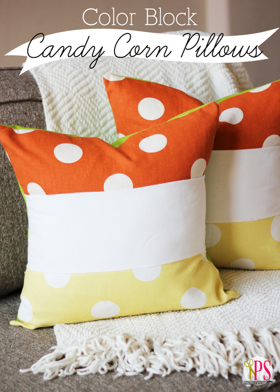 Color Block Candy Corn Pillow Tutorial at Positively Splendid