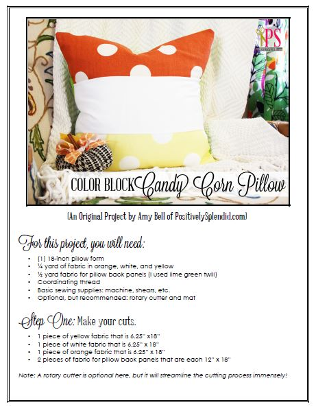 Color Block Candy Corn Pillow PDF Tutorial