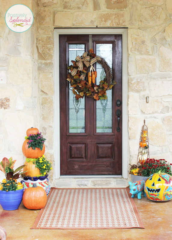 bright and beautiful fall front porch decor at positively splendid - Fall Outdoor Decorations