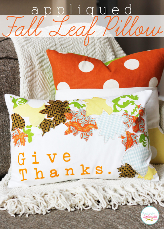 Appliqued Fall Leaf Pillow at Positively Splendid