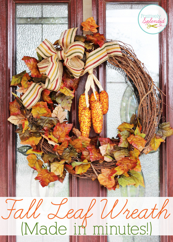 This fall leaf wreath at Positively Splendid can be made in 15 minutes or less. Love it!