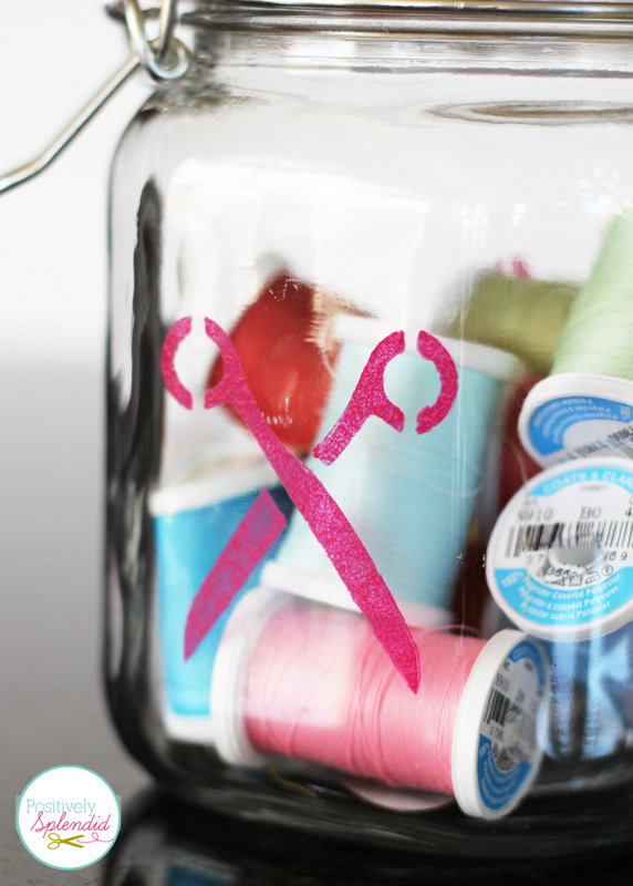 SuchSuch a clever project! Glass canister sewing organizer with removable pincushion at Positively Splendid. a clever project! Glass canister sewing organizer with removeable pincushion at Positively Splendid.