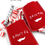 Adorable! Santa's 'stache goodie bags, plus an ingenious idea for making custom stamps from wine corks!