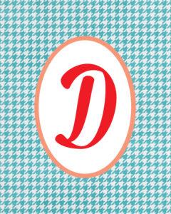 Blue Monogram D