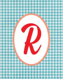 Blue Monogram R