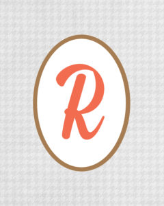 Grey Monogram R