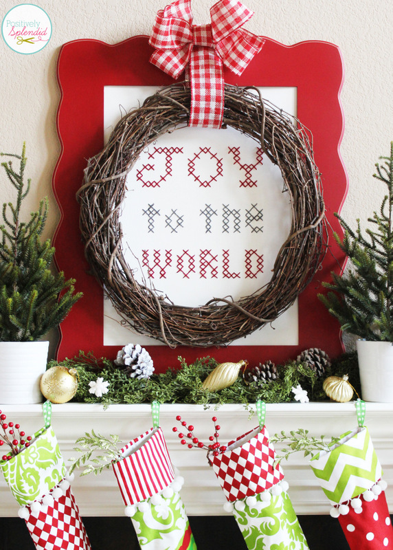 Oversized Joy to the World Cross-Stitch Sampler. This technique would be perfect for creating art for any holiday or occasion!