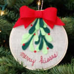 Merry Kisses Embroider Hoop Christmas Ornament
