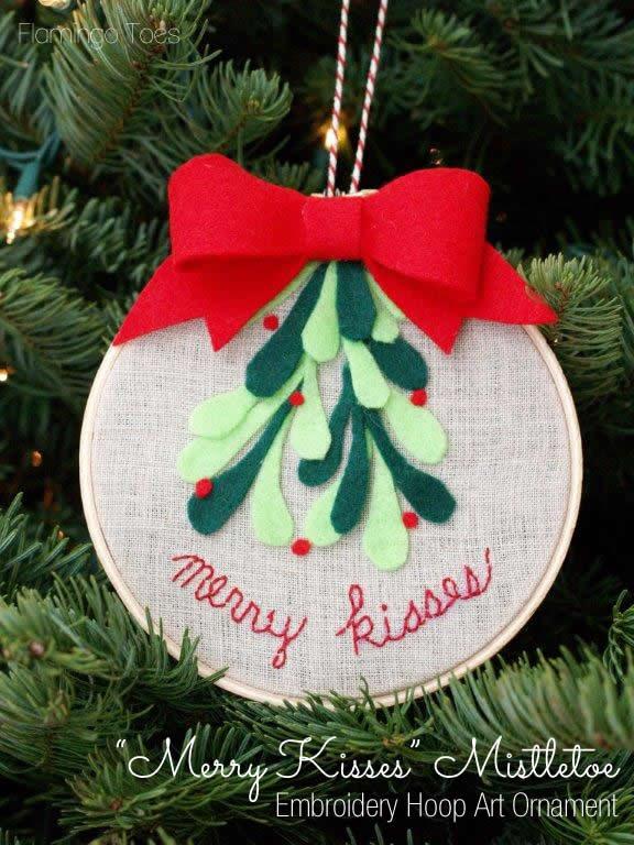 Mistletoe Embroidery Hoop Christmas Ornament
