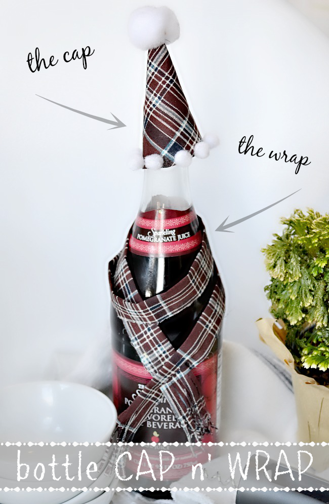 Darling bottle cap & wrap idea. Perfect for last-minute holiday gifts!