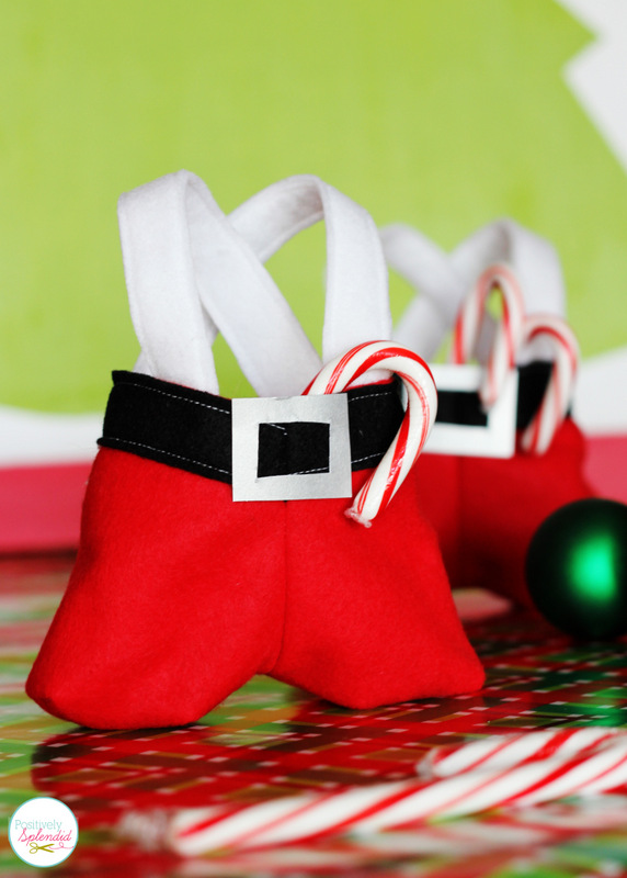 Darling Santa pants treat bags. These would be so fun for holding gift cards or other small gifts!