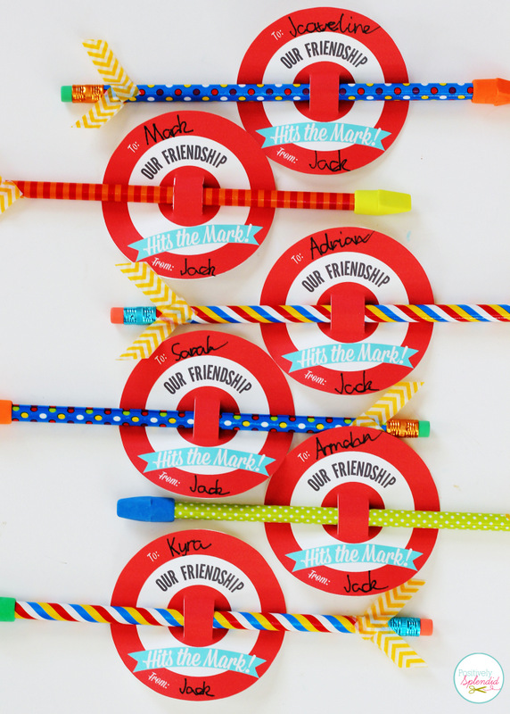 Printable Bullseye Valentine\'s Day Cards with Pencil Arrows