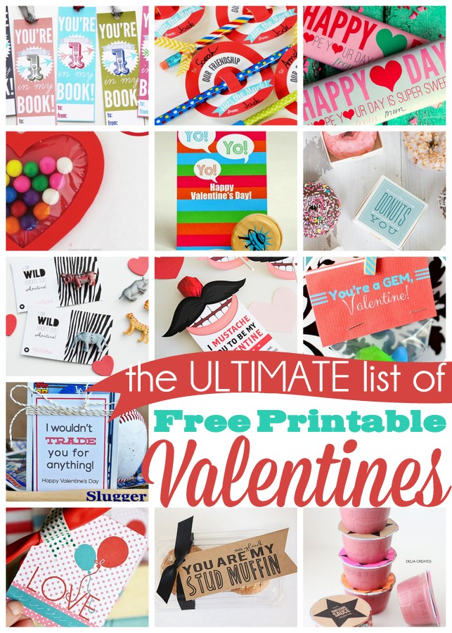 The ULTIMATE list of free printable valentines. 25 creative ideas!