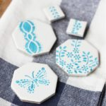 Stenciled Tile Magnets
