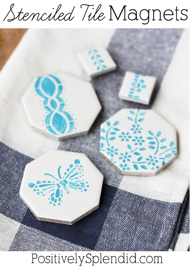 Stenciled tile magnets - so quick and easy!