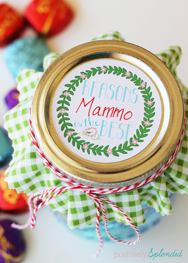 Mason jar Mothers' Day gift - Affix sweet thoughts to Dove chocolate and package in a pretty jar. Free printable tags to make things easy as pie! #SharetheDOVE