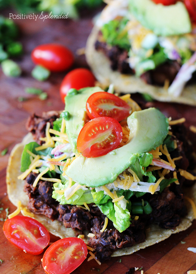 These chicken and black bean tostadas are so fresh and yummy. Perfect for summer!