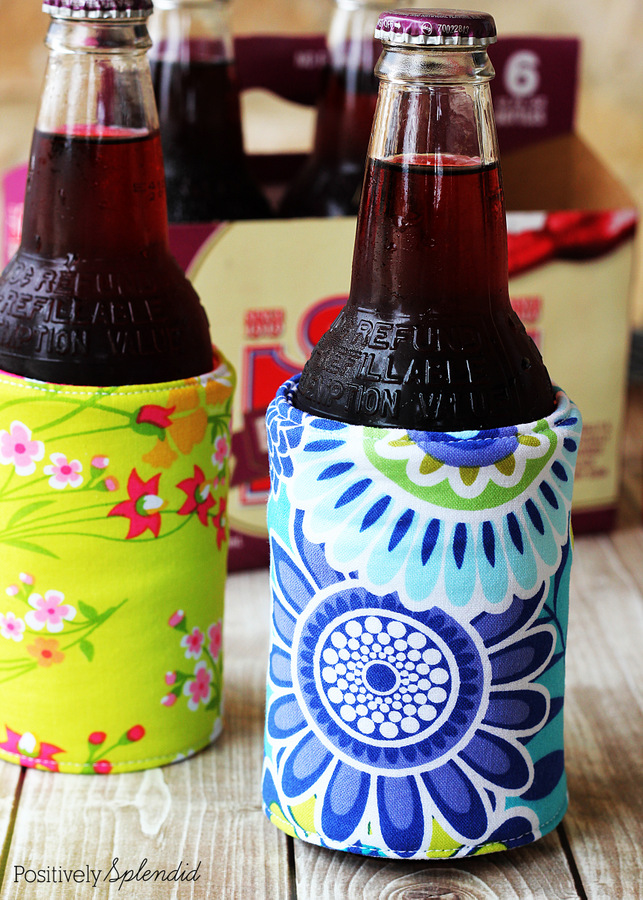 How fun are these DIY koozies made with cute fabrics? Perfect for summer!