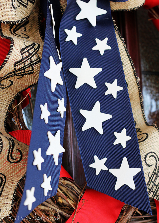 Embellish navy grosgrain ribbon with painted wooden stars. Great idea!