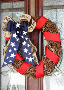Lovely patriotic wreath at Positively Splendid. Perfect for displaying all summer long!
