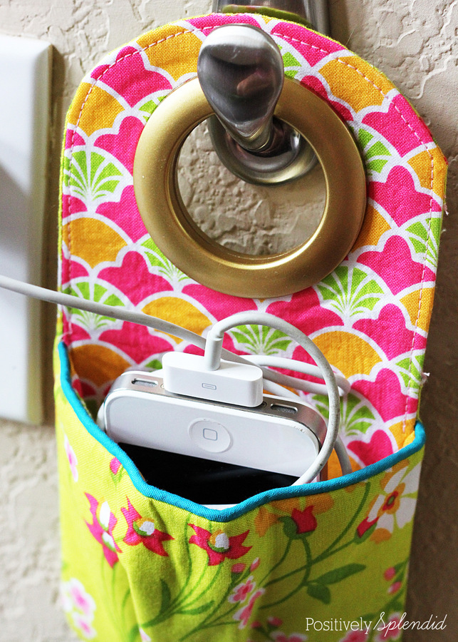 Diy fabric phone charging station Charger cord organizer diy