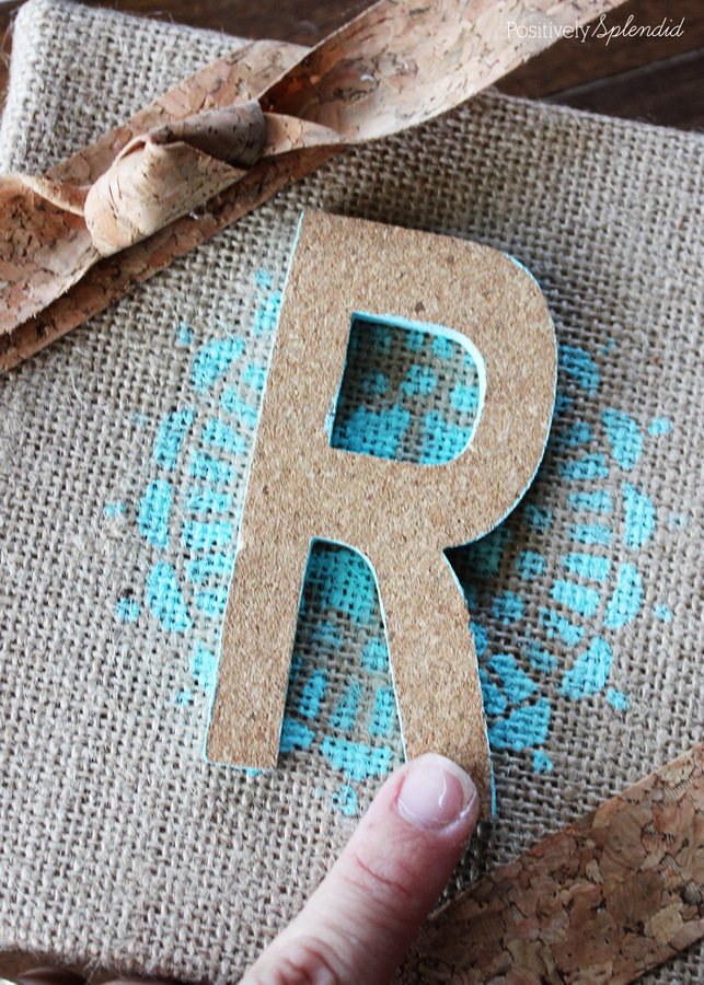 Burlap and cork monogram craft #MichaelsMakers